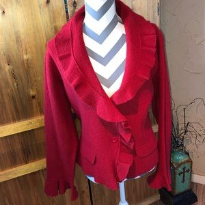 🔥 Gorgeous Red Coldwater Creek 100% Wool Jacket